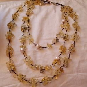 NIB 336 kt Brazilian Citrine and pearl necklace